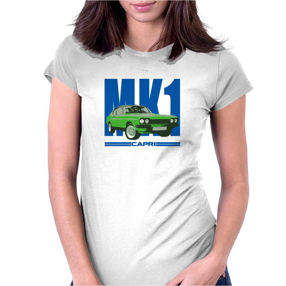 Ford Capri Retro Classic Car Blue/Green Womens Fitted T-Shirt
