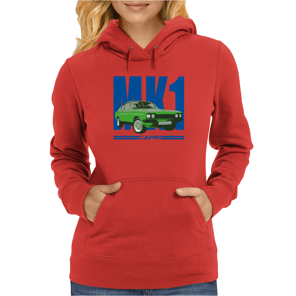 Ford Capri Retro Classic Car Blue/Green Womens Hoodie