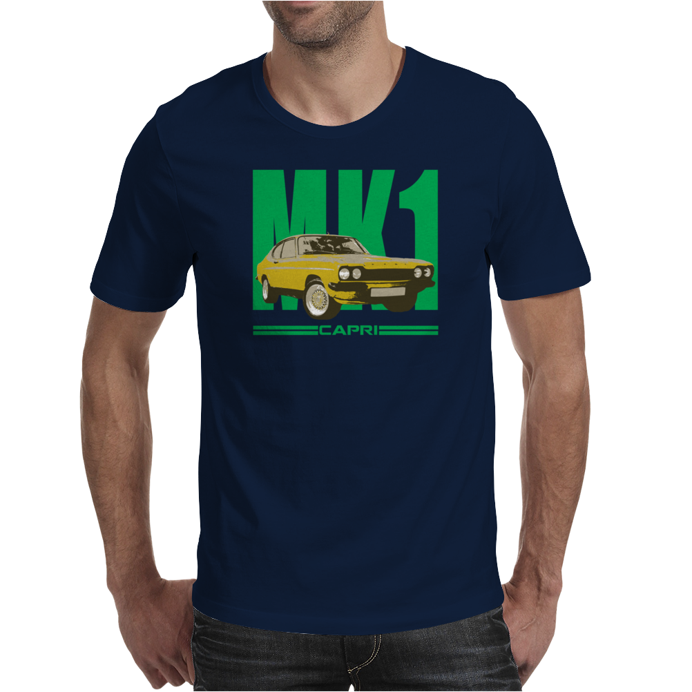 Ford Capri Retro Classic Car Green/Yellow Mens T-Shirt