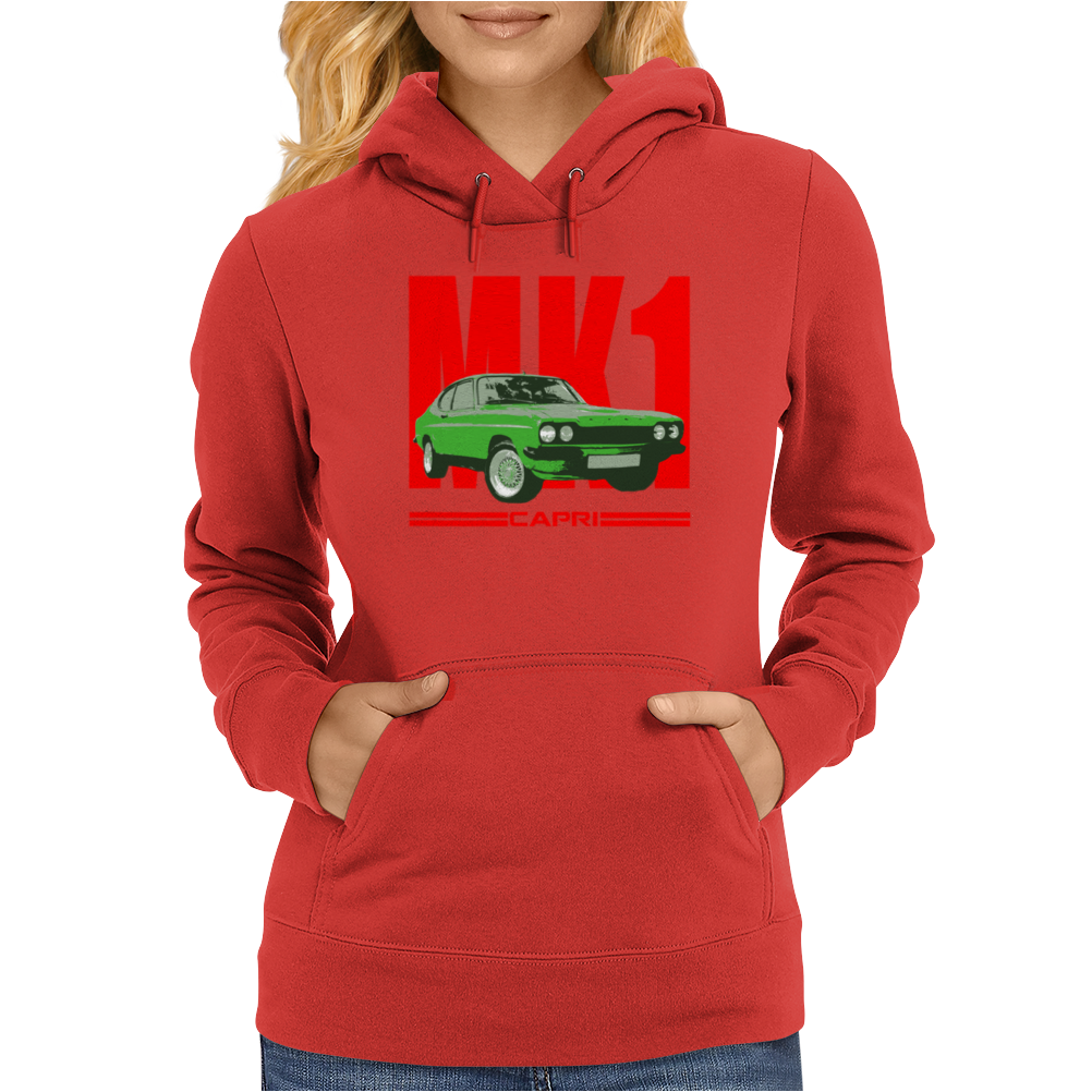 Ford Capri Retro Classic Car Red/Green Womens Hoodie