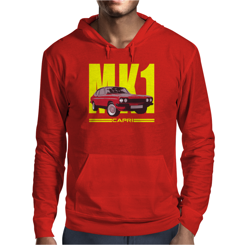 Ford Capri Retro Classic Car Yellow/Red Mens Hoodie