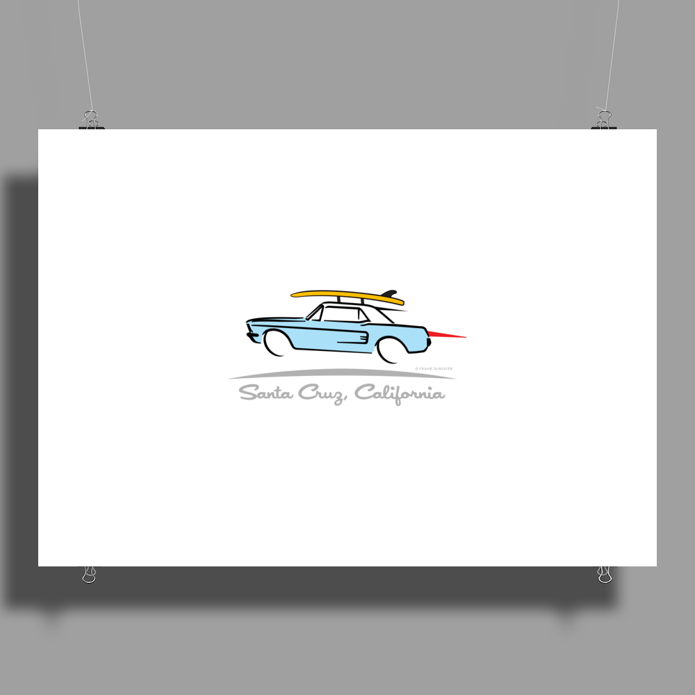 Ford Mustang Gone Surfing in Santa Cruz California Poster Print (Landscape)