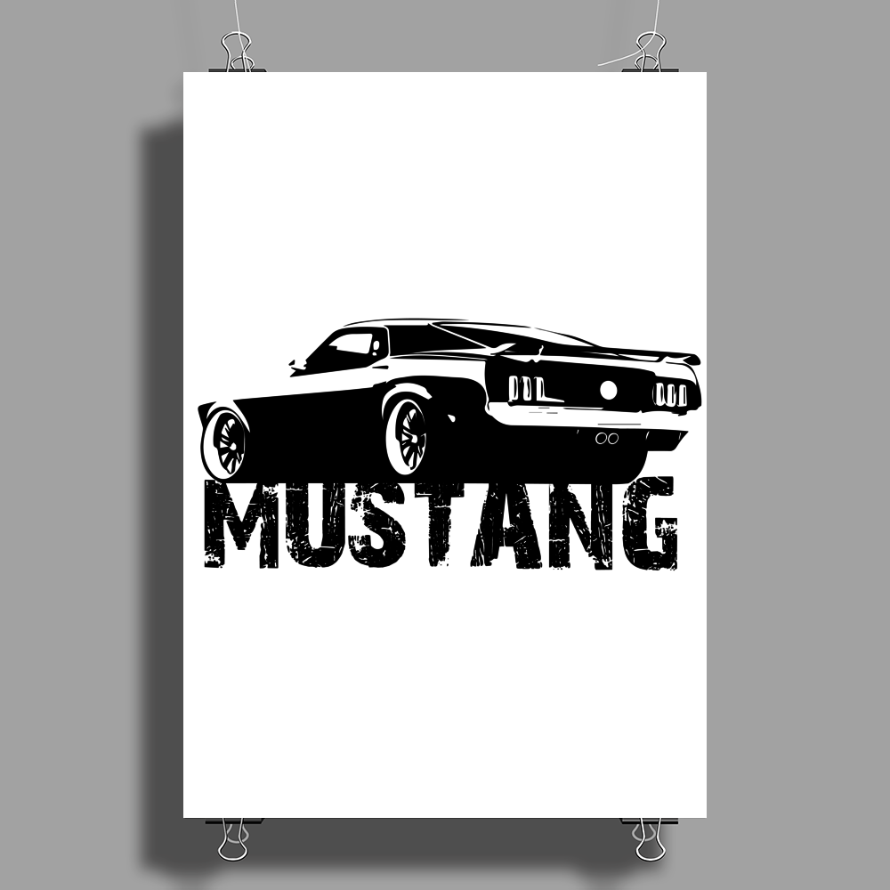 Ford Mustang Rear Poster Print (Portrait)