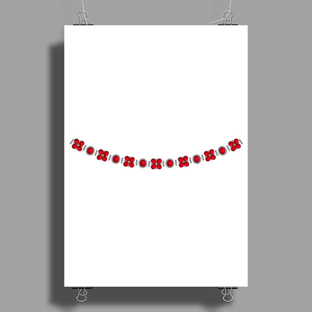 Four cluster Ruby Necklace Poster Print (Portrait)