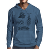 Fresh food, spinach, mushrooms, garlic plait, fresh fish illustration Mens Hoodie