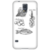 Fresh food, spinach, mushrooms, garlic plait, fresh fish illustration Phone Case