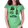 Fresh food, spinach, mushrooms, garlic plait, fresh fish illustration Womens Fitted T-Shirt