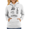 Fresh food, spinach, mushrooms, garlic plait, fresh fish illustration Womens Hoodie