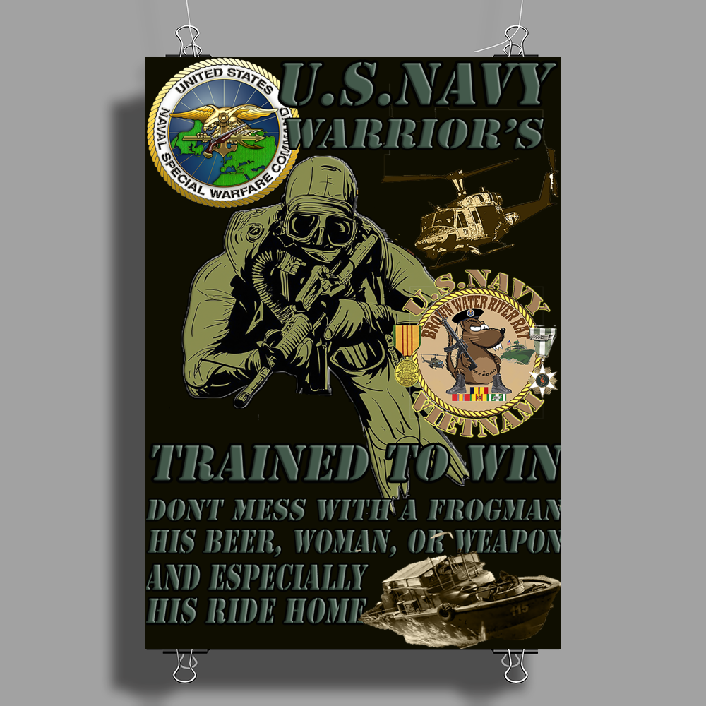 Frogman Seal's Brown Water Navy Hal 3 Design Poster Print (Portrait)