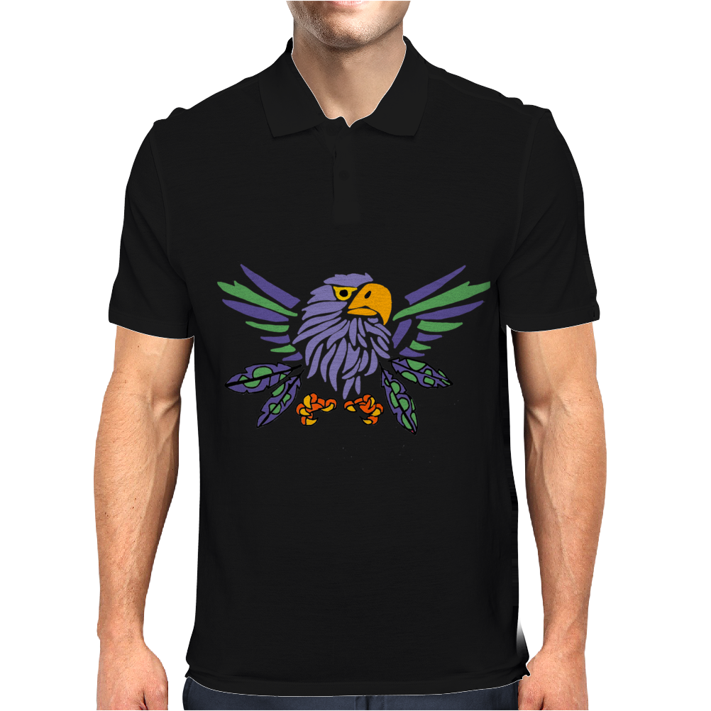 Fun Artistic Eagle and Feathers Abstract Art Mens Polo