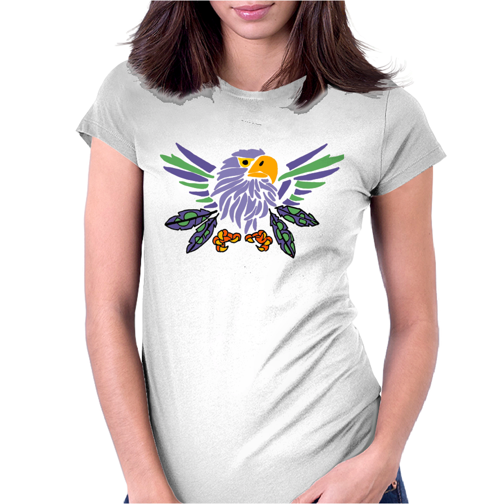 Fun Artistic Eagle and Feathers Abstract Art Womens Fitted T-Shirt