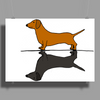 Fun Awesome Artistic dachshund Dog ans Shadow Art Poster Print (Landscape)