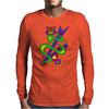 Fun Colorful Abstract Art with Owl on Top Mens Long Sleeve T-Shirt