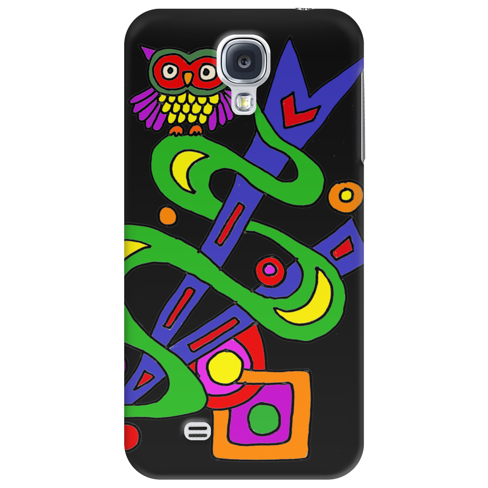 Fun Colorful Abstract Art with Owl on Top Phone Case