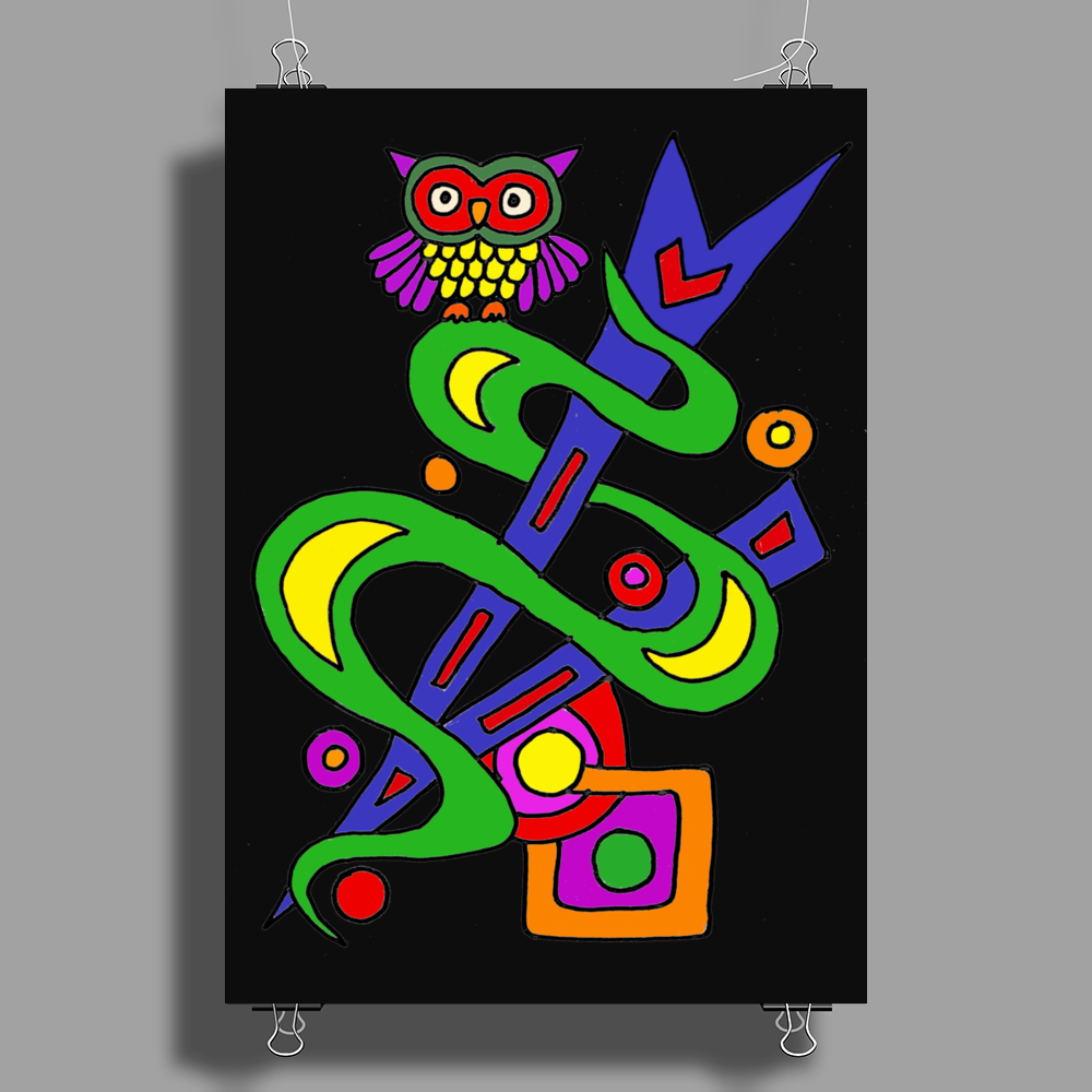 Fun Colorful Abstract Art with Owl on Top Poster Print (Portrait)