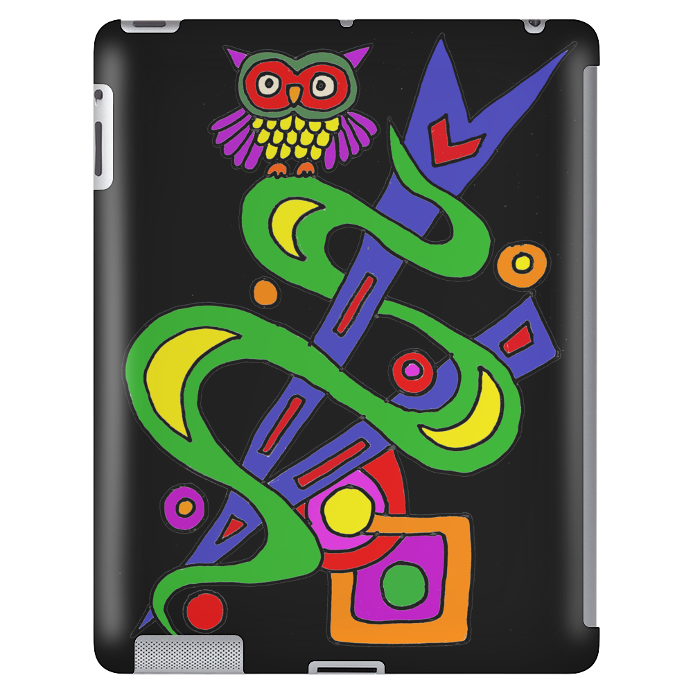 Fun Colorful Abstract Art with Owl on Top Tablet