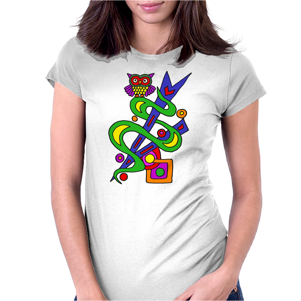Fun Colorful Abstract Art with Owl on Top Womens Fitted T-Shirt