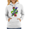 Fun Colorful Abstract Art with Owl on Top Womens Hoodie