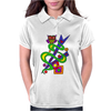 Fun Colorful Abstract Art with Owl on Top Womens Polo