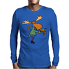 Fun Cool Moose Playing Trombone Art Mens Long Sleeve T-Shirt