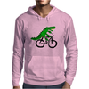 Funky and Funny Green Alligator Riding Bicycle Art Mens Hoodie