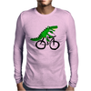 Funky and Funny Green Alligator Riding Bicycle Art Mens Long Sleeve T-Shirt
