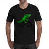 Funky and Funny Green Alligator Riding Bicycle Art Mens T-Shirt