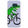 Funky and Funny Green Alligator Riding Bicycle Art Phone Case