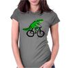 Funky and Funny Green Alligator Riding Bicycle Art Womens Fitted T-Shirt