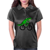 Funky and Funny Green Alligator Riding Bicycle Art Womens Polo