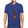 Funky Artistic Cute Greyhound Dog Abstract Art Mens Polo