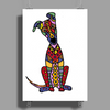 Funky Artistic Cute Greyhound Dog Abstract Art Poster Print (Portrait)