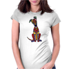 Funky Artistic Cute Greyhound Dog Abstract Art Womens Fitted T-Shirt