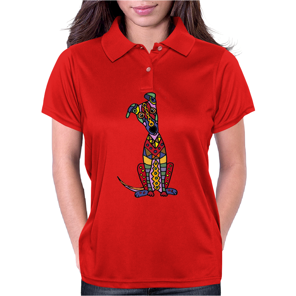 Funky Artistic Cute Greyhound Dog Abstract Art Womens Polo