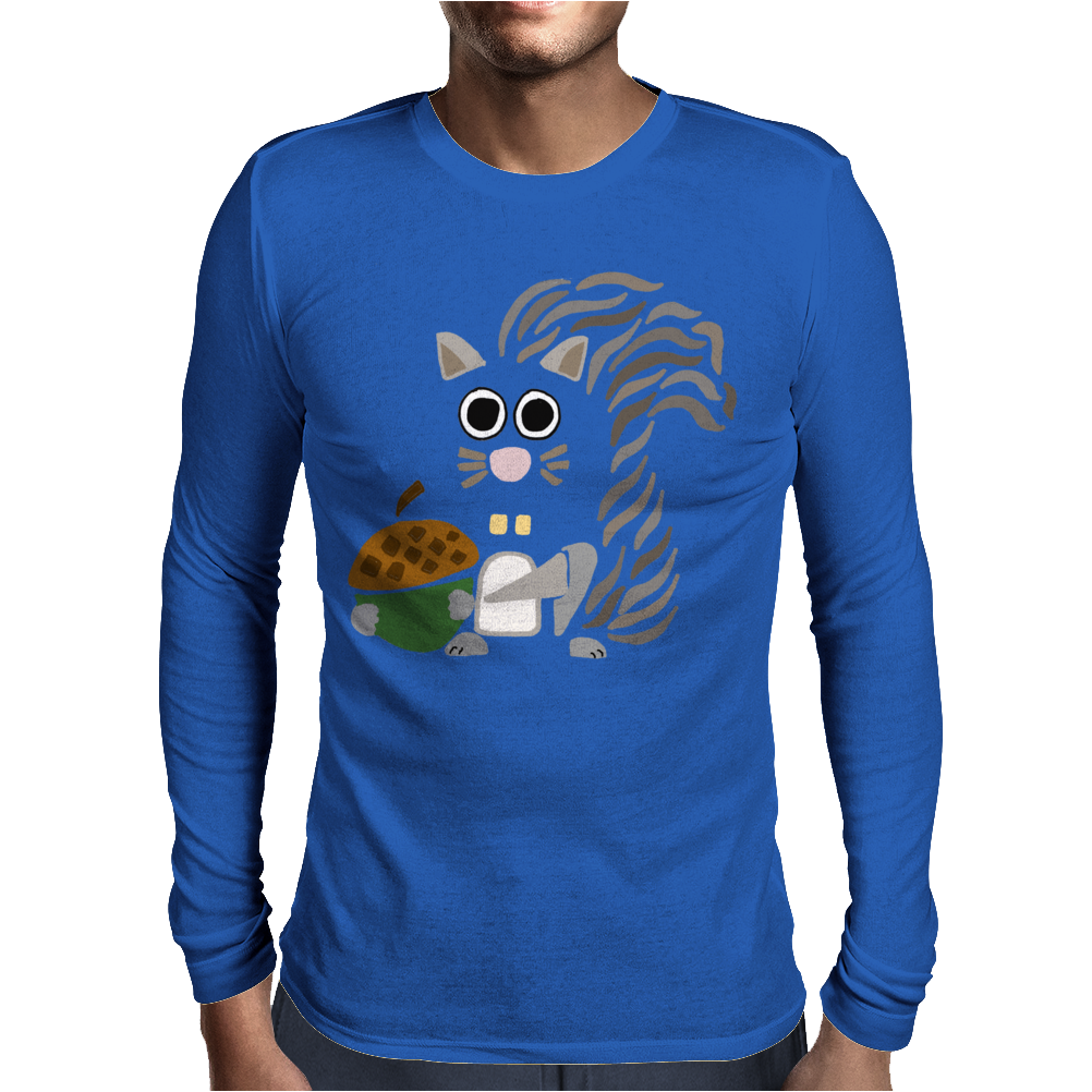 Funky Cool Squirrel with Acorn Abstract Art Mens Long Sleeve T-Shirt