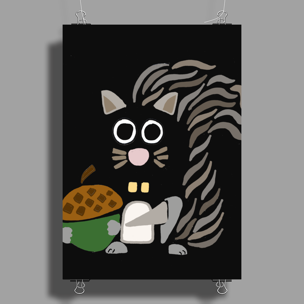 Funky Cool Squirrel with Acorn Abstract Art Poster Print (Portrait)
