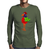 Funky Funny Colorful Rooster Original Art Mens Long Sleeve T-Shirt
