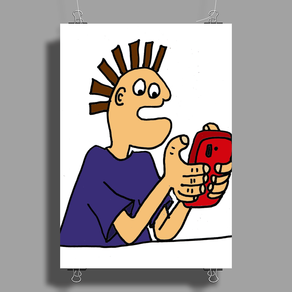 Funky Funny Gamer Dude playing Mobile App Games Poster Print (Portrait)