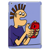 Funky Funny Gamer Dude playing Mobile App Games Tablet