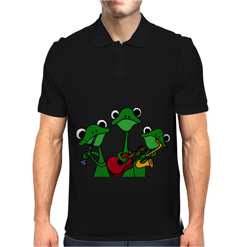 Funky Green Tree Frogs Playing Musical Instruments Mens Polo