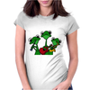 Funky Green Tree Frogs Playing Musical Instruments Womens Fitted T-Shirt