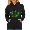 Funky Green Tree Frogs Playing Musical Instruments Womens Hoodie