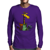 Funny Awesome Giraffe Playing XCard Game Art Mens Long Sleeve T-Shirt