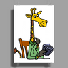 Funny Awesome Giraffe Playing XCard Game Art Poster Print (Portrait)