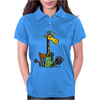 Funny Awesome Giraffe Playing XCard Game Art Womens Polo