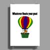 Funny Awesome Goat in Hot Air Balloon Poster Print (Portrait)