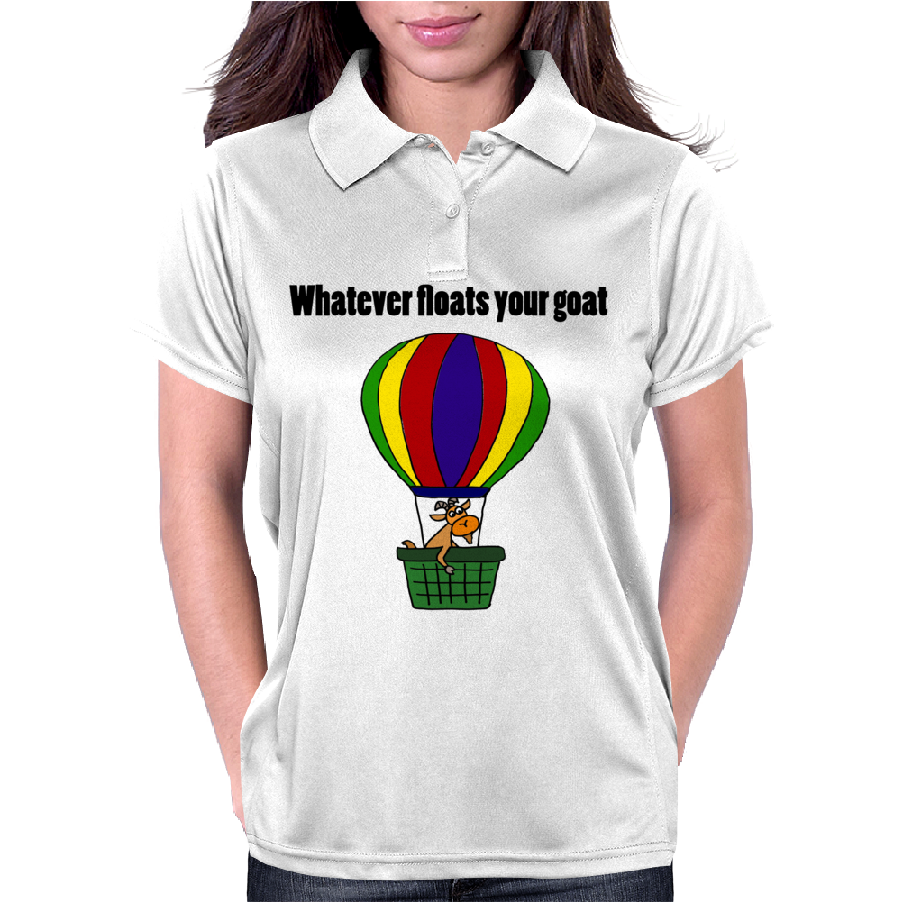 Funny Awesome Goat in Hot Air Balloon Womens Polo