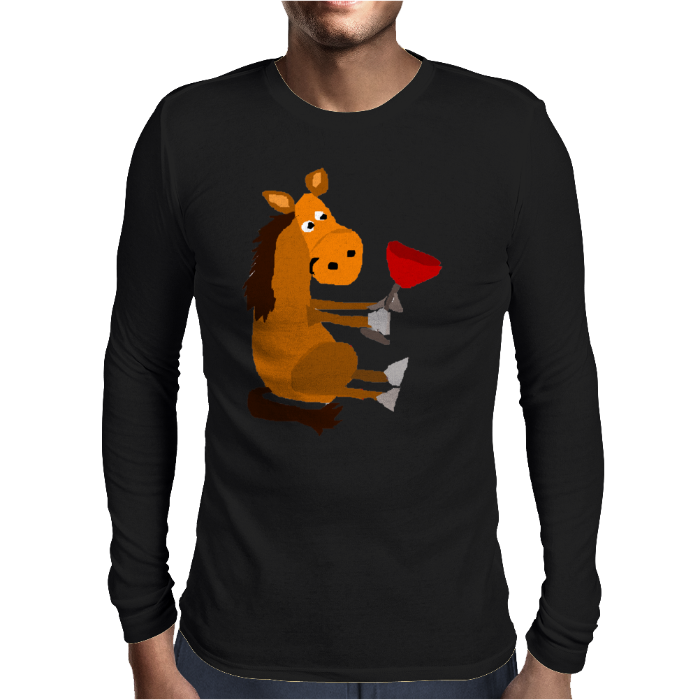 Funny Awesome Horse Drinking Red Wine Art Mens Long Sleeve T-Shirt