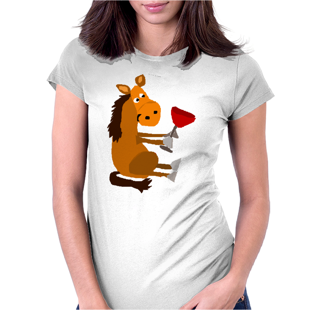 Funny Awesome Horse Drinking Red Wine Art Womens Fitted T-Shirt