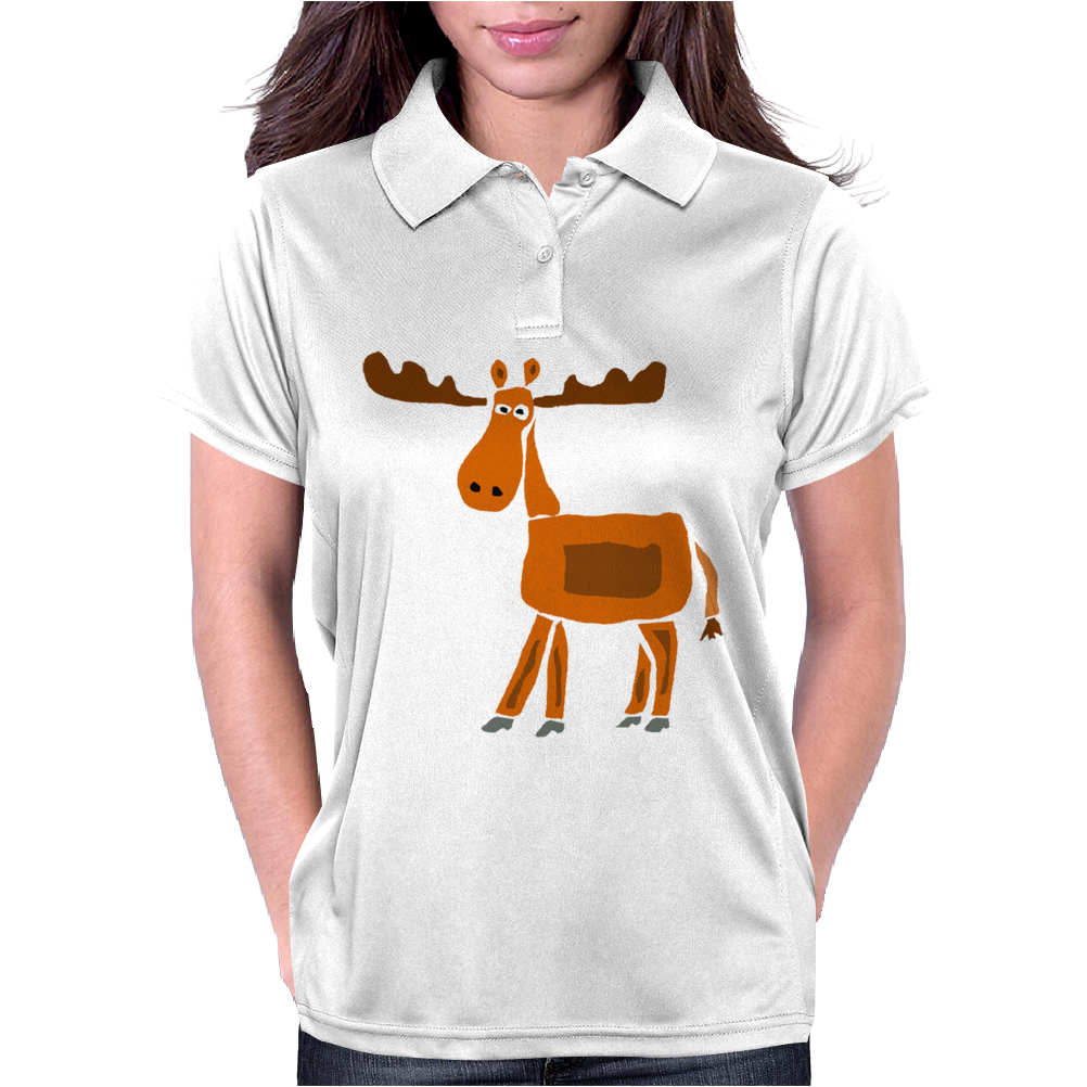Funny Awesome Moose Primitive Art Womens Polo